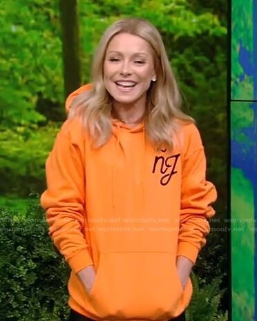 Kelly's orange nj hoodie on Live with Kelly and Ryan