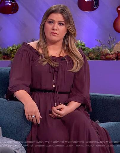 Kelly's purple off shoulder dress on The Kelly Clarkson Show