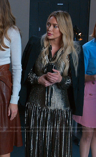 Kelsey's metallic striped tie neck dress on Younger