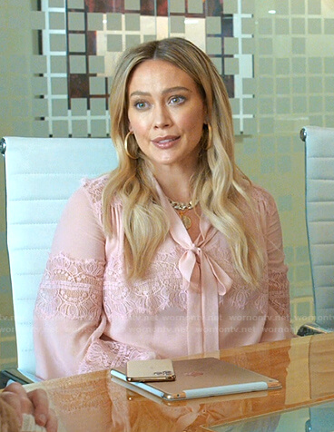 Kelsey's pink lace panel tie neck blouse on Younger