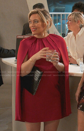 Kelsey's red cape dress on Younger