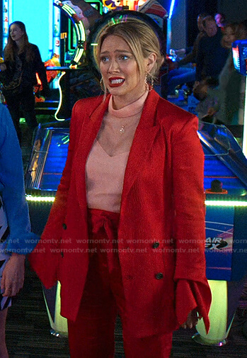 Kelsey's red ruffled cuff blazer and pants on Younger