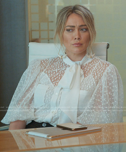Kelsey's white lace tie neck blouse on Younger