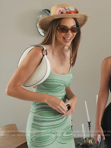 Kendall's green lily print sleeveless dress on Keeping Up with the Kardashians