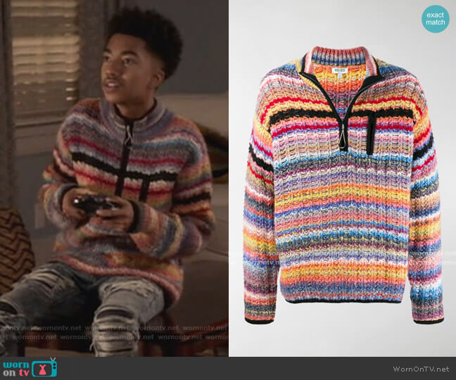 Half-zip striped jumper by Kenzo worn by Jack Johnson (Miles Brown) on Blackish