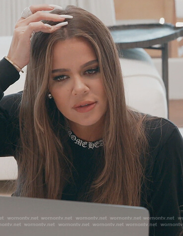 Khloe's black cross print long sleeve tee on Keeping Up with the Kardashians