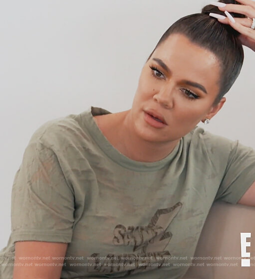 Khloe's green Saint Laurent distressed tee on Keeping Up with the Kardashians