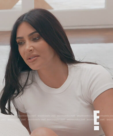 Kim's white tee on Keeping Up with the Kardashians