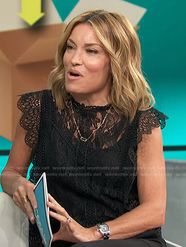Kit's black lace scalloped top on Access Hollywood