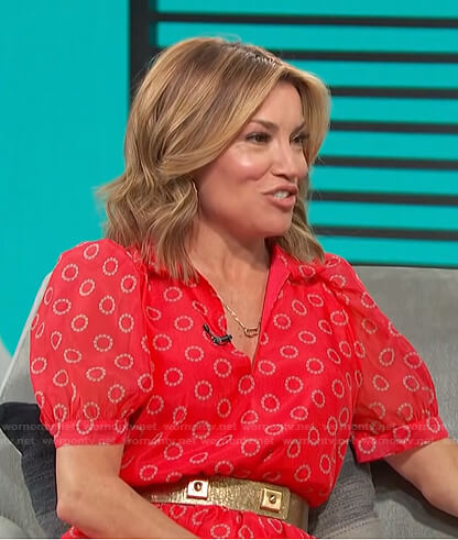 Kit's red printed puff sleeve dress on Access Hollywood