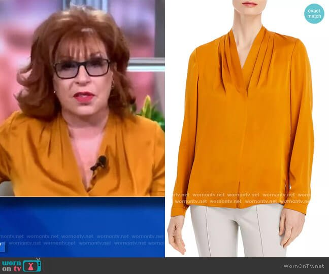 Nellie Silk-Blend Pleated Blouse worn by Joy Behar  on The View