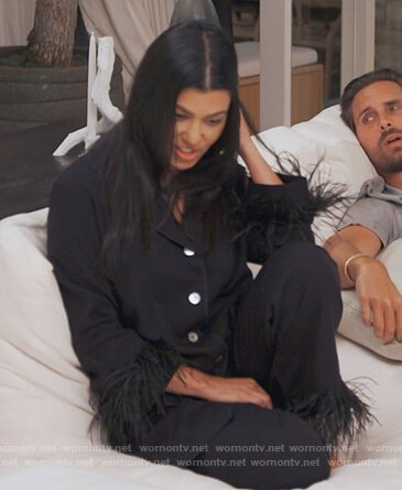 Kourtney's black feather trim pajamas on Keeping Up with the Kardashians