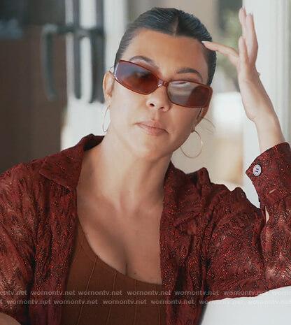 Kourtney's brown one shoulder bikini on Keeping Up with the Kardashians