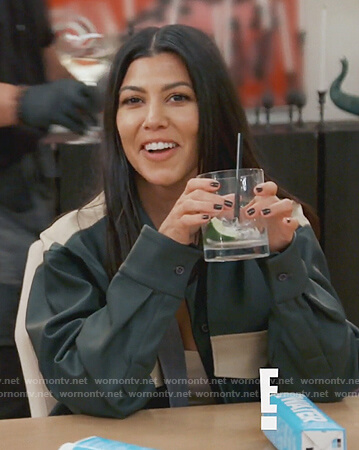 Kourtney's green leather colorblock jacket and pants on Keeping Up with the Kardashians