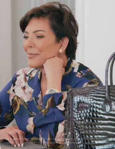 Kris's blue floral print blouse on Keeping Up with the Kardashians