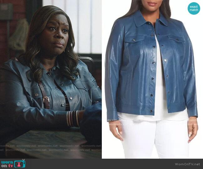 Destiny Leather Jacket by Lafayette 148 New York worn by Ruby Hill (Retta) on Good Girls