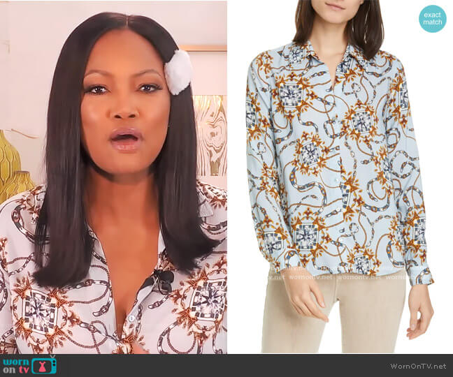 Holly Belt Print Blouse by L'Agence worn by Garcelle Beauvais  on The Real