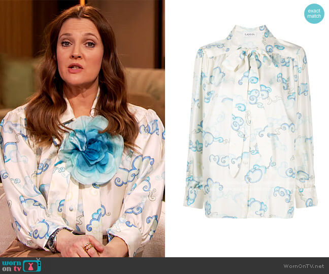Pussy-Bow Silk Blouse by Lanvin worn by Drew Barrymore  on The Drew Barrymore Show
