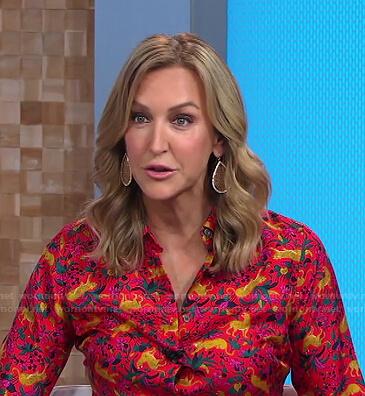 Lara's red animal print shirt on Good Morning America
