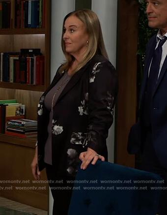 Laura's black floral print blazer on General Hospital