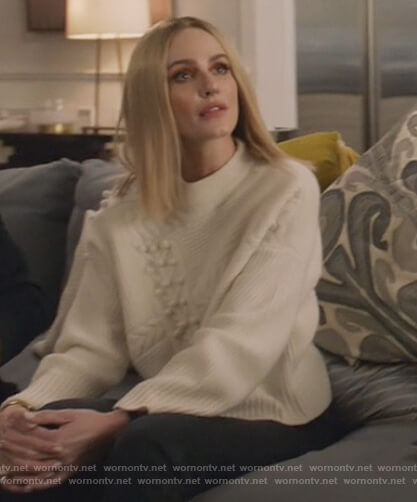 Laura's white mixed knit sweater on All American