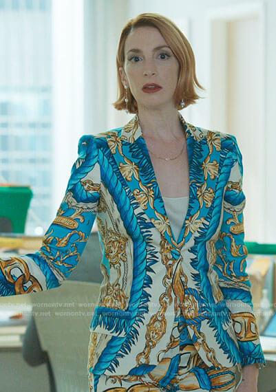 Lauren's blue baroque print suit on Younger