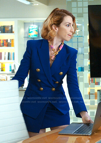 Lauren's blue double breasted blazer and skirt with pockets on Younger