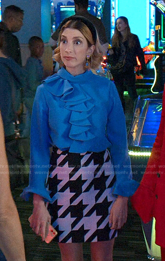 Lauren's blue ruffle blouse and houndstooth skirt on Younger