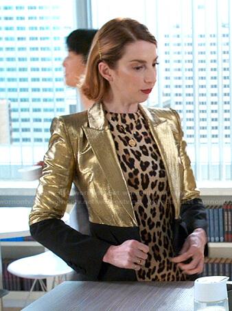 Lauren's leopard dress and metallic blazer on Younger