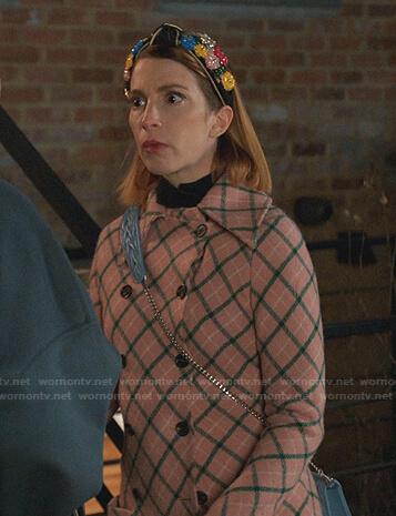 Lauren's pink check coat on Younger