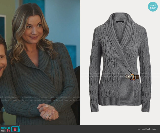 Buckled Cotton Sweater by Ralph Lauren worn by Nicolette Nevin (Emily VanCamp) on The Resident