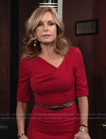 Lauren's red draped neck belted dress on The Young and the Restless