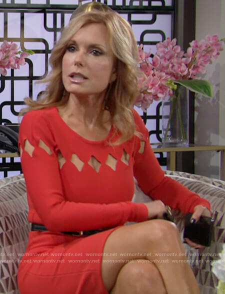 Lauren's red dress with diamond cutouts on The Young and the Restless