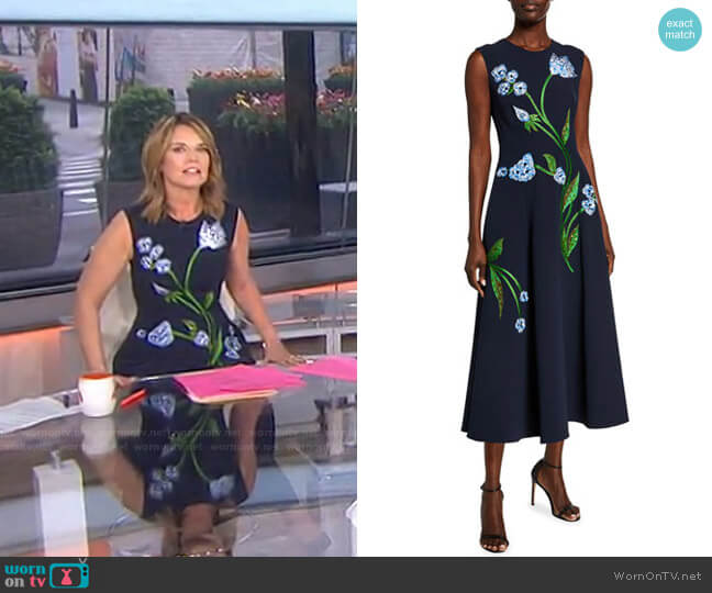 Floral-Embroidered Dress by Lela Rose worn by Savannah Guthrie  on Today