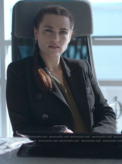 Lena's black double breasted blazer on Supergirl
