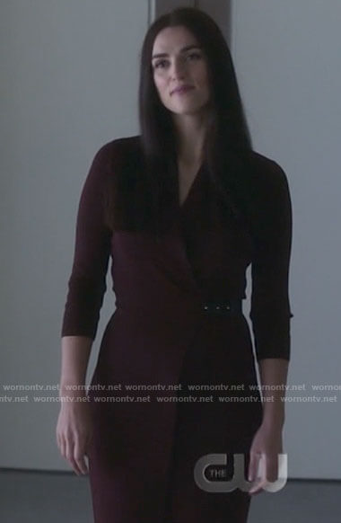 Lena's burgundy wrap dress on Supergirl