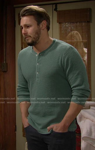 Liam's green henley shirt on The Bold and the Beautiful