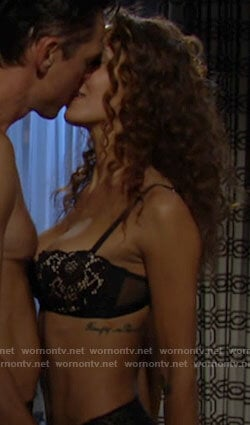 Lily's black lace bra on The Young and the Restless