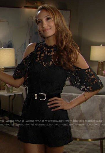 Lily's black lace cold-shoulder romper on The Young and the Restless