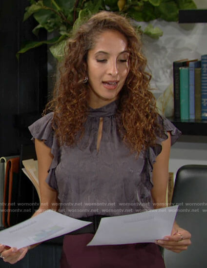 Lily's grey snake print top with ruffle sleeves on The Young and the Restless