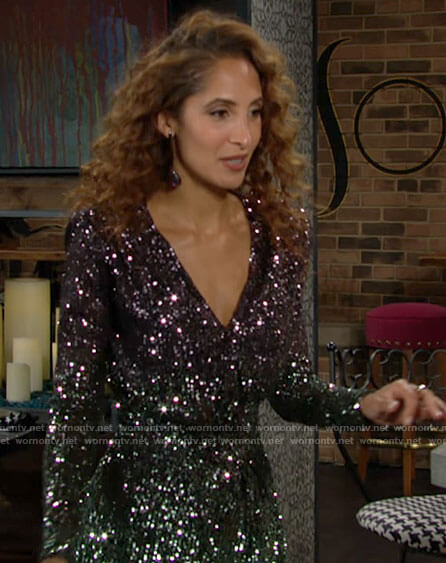 Lily's long sleeved sequin dress on The Young and the Restless