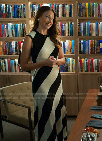 Liza's black and white striped dress on Younger