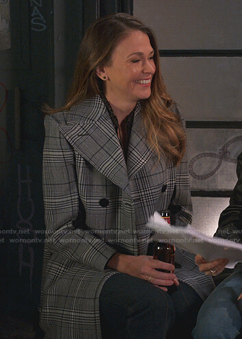 Liza's blue plaid coat  on Younger