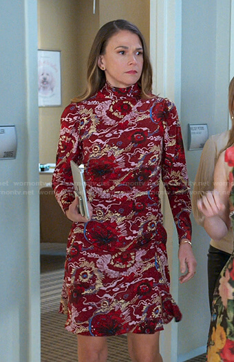 Liza's red floral mock neck dress on Younger