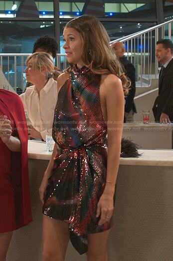 Liza's sequin draped mini dress on Younger