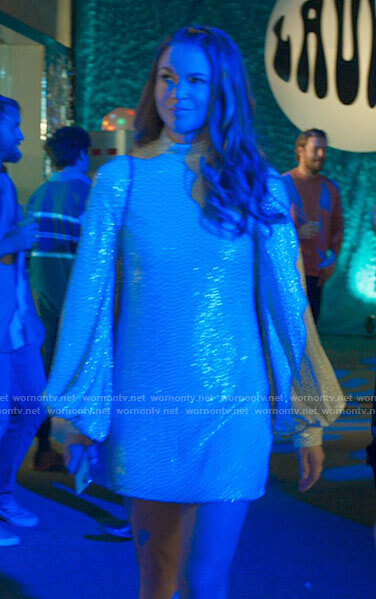 Liza's sequin long sleeve mini dress on Younger