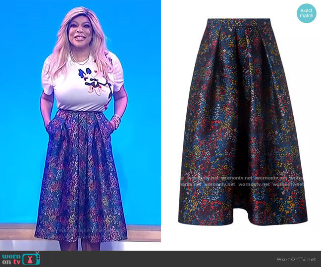 Aurorie Floral Skirt by L.K. Bennett worn by Wendy Williams  on The Wendy Williams Show