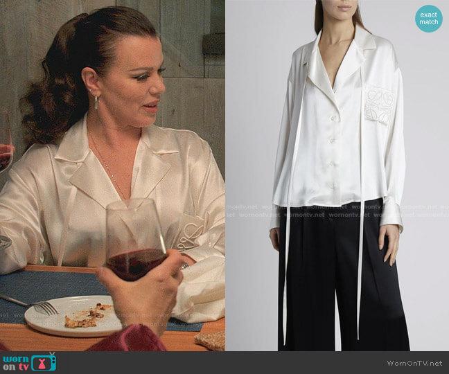 Satin Anagram Pajama Blouse by Loewe worn by Maggie (Debi Mazar) on Younger