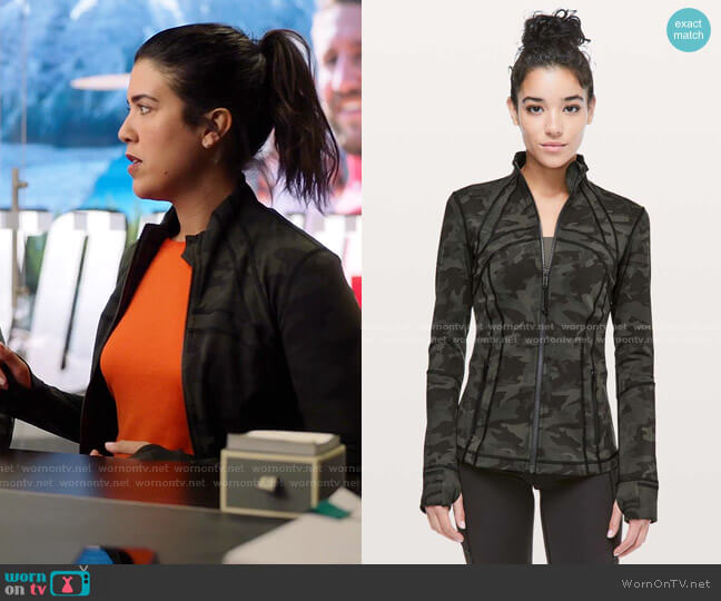 Define Jacket by Lululemon worn by Shannon Ross (Nicole Power) on Kims Convenience