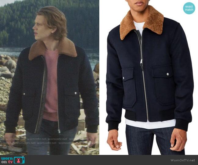 Theo Genuine Shearling Trim Wool Blend Jacket by Mackage worn by Alex Saxon on Nancy Drew